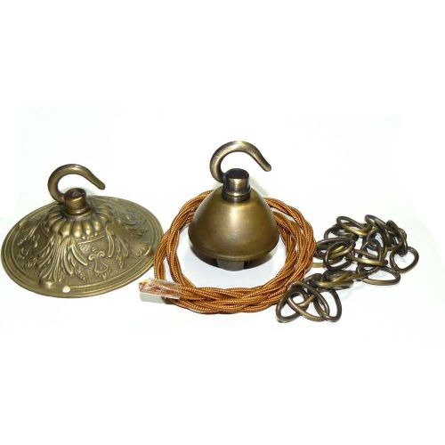 Solid Brass Hooked Ceiling Rose and Chain  Suspension Bayonet Cap Fit 63cm Drop Antique Finish